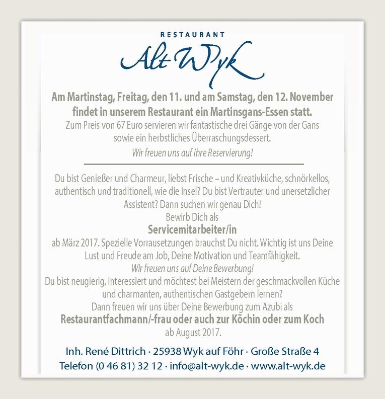 Ausbildung: Restaurantfachmann/-frau / Köchin / Koch