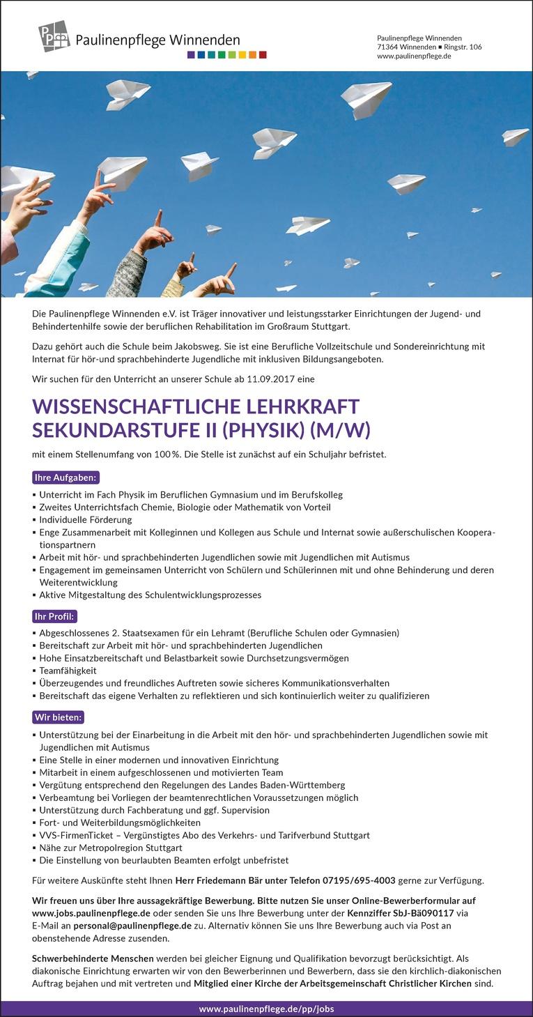 WISSENSCHAFTLICHE LEHRKRAFT SEKUNDARSTUFE II (PHYSIK) (M/W)