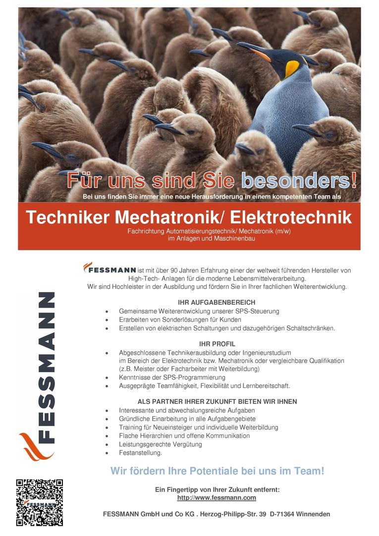 Techniker im Bereich Mechatronik/ Elektrotechnik Fachrichtung Automatisierungstechnik/ Mechatronik (m/w)