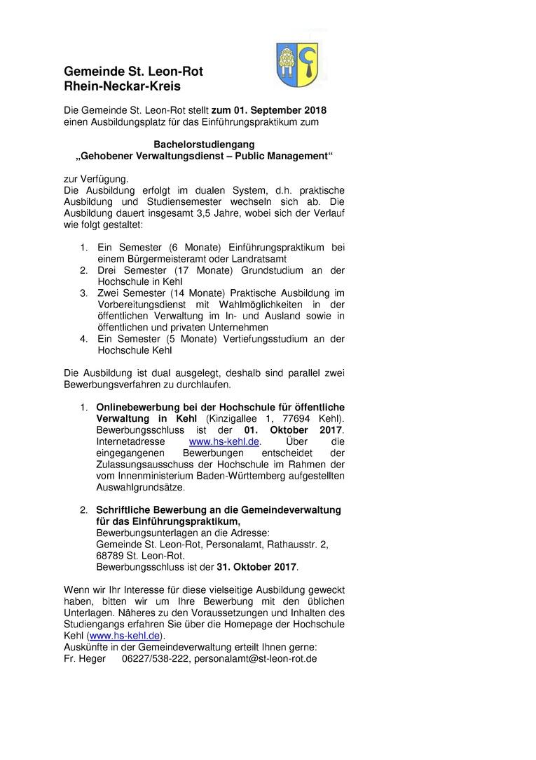 """Einführungspraktikant für den Bachelorstudiengang """"Gehobener Verwaltungsdienst - Public Management"""" (m/w)"""