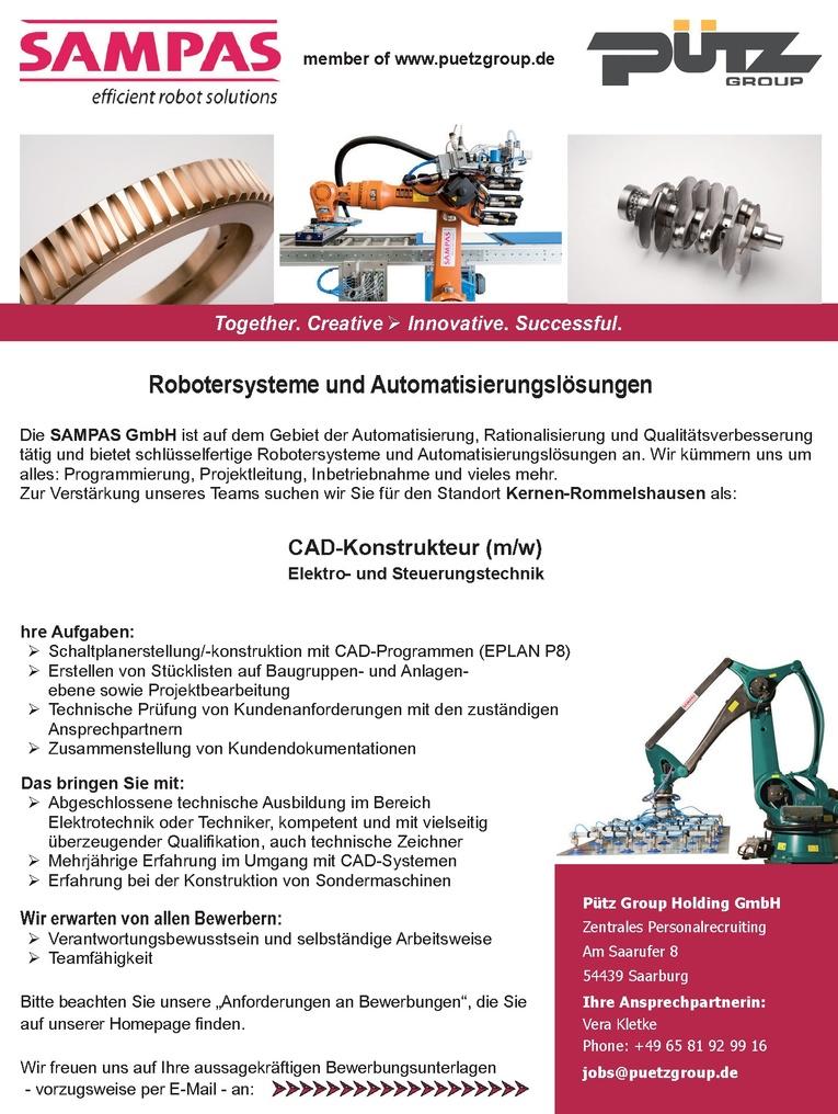 CAD-Konstrukteur (m/w) Elektro- und Steuerungstechnik