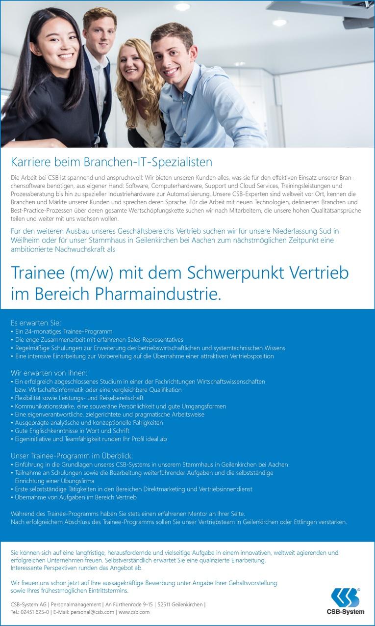 Trainee (m/w) mit dem Schwerpunkt Vertrieb im Bereich Pharmaindustrie
