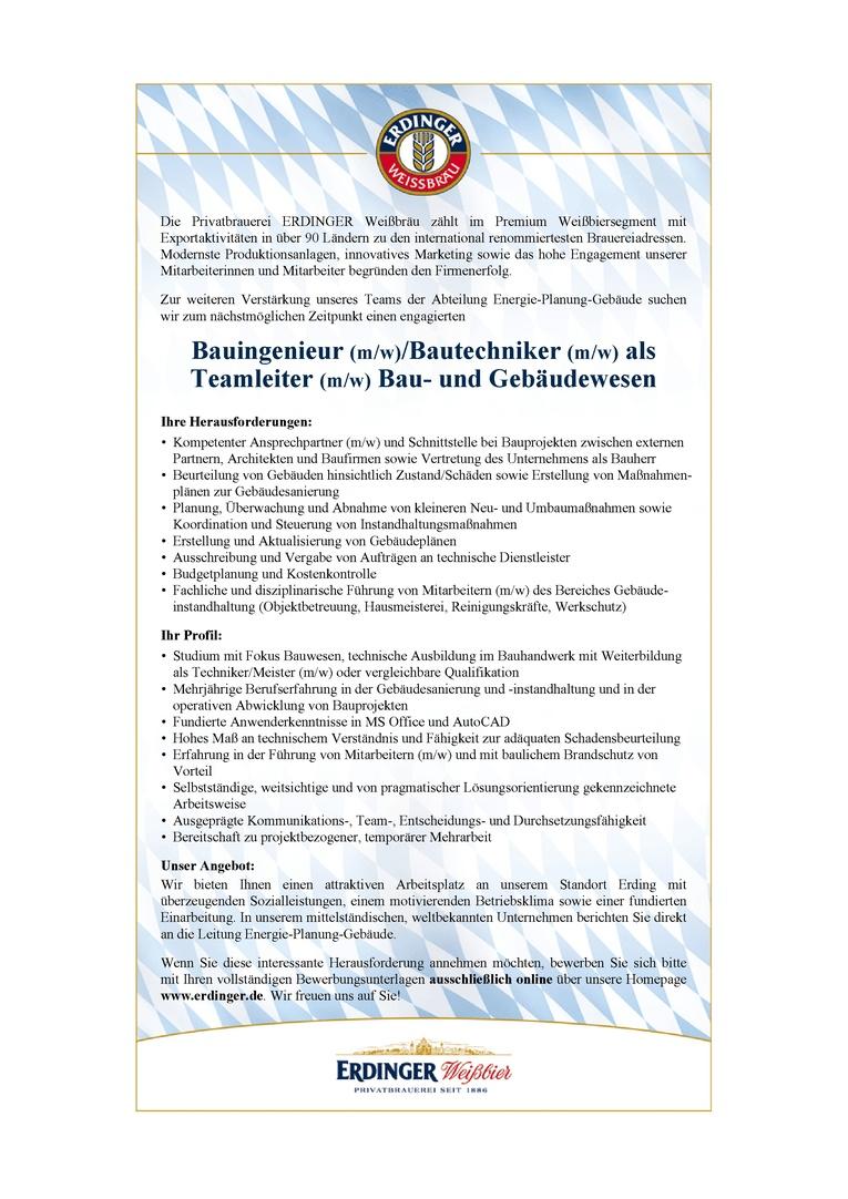 Bauingenieur (m/w)/Bautechniker (m/w) als Teamleiter (m/w) Bau- und Gebäudewesen