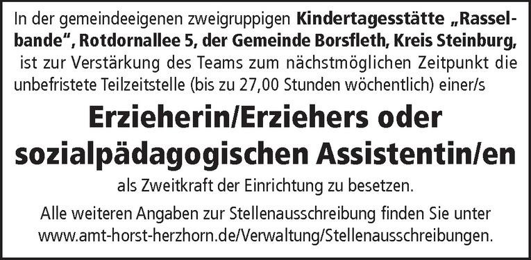 Erzieherin/Erzieher oder sozialpädagogischen Assistentin/en