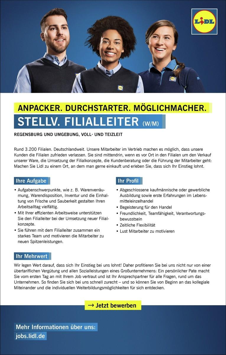 Stellv. Filialverantwortlicher (w/m) in Vollzeit, Regensburger Str. 46