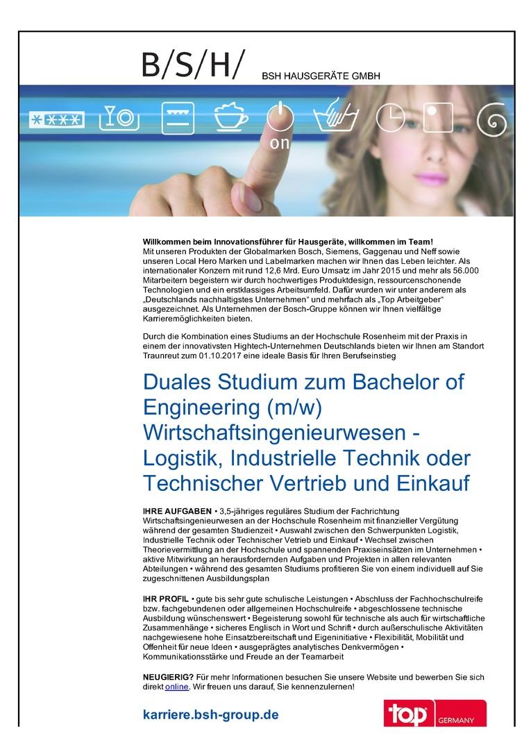 Duales Studium zum Bachelor of Engineering (m/w) Wirtschaftsingenieurwesen - Logistik, Industrielle Technik oder Technischer Vertrieb und Einkauf