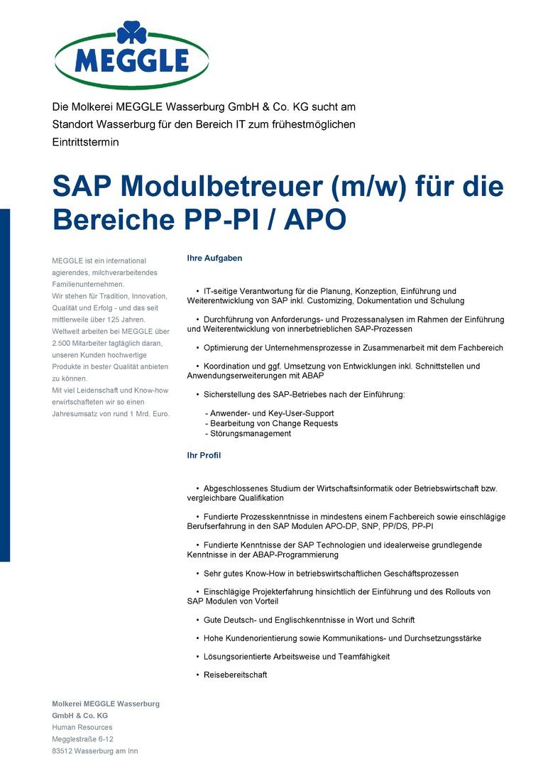 SAP Modulbetreuer (m/w) für die Bereiche PP-PI/APO