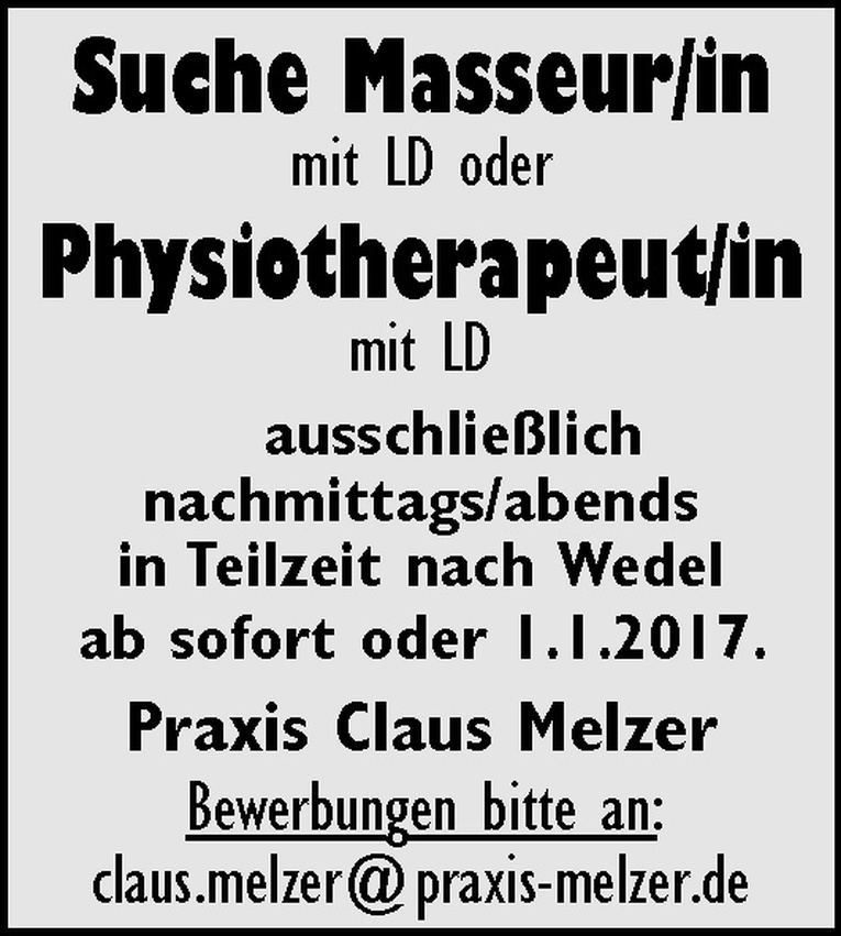 Masseur/in / Physiotherapeut/in