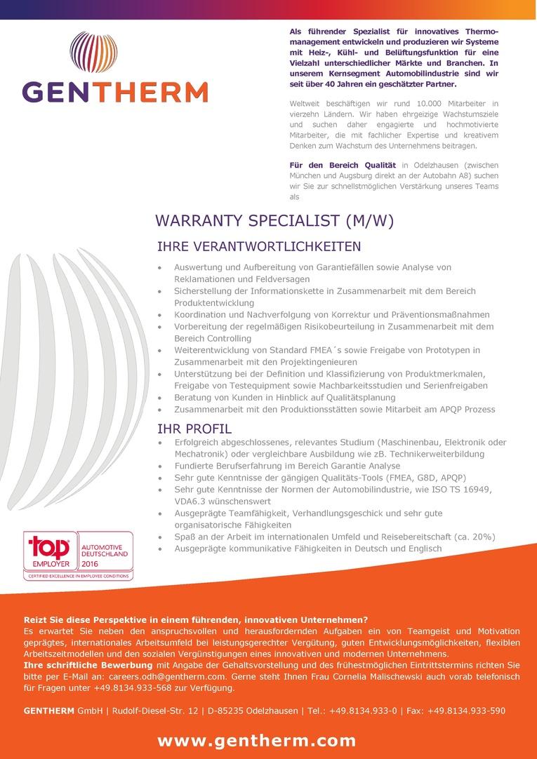 Warranty Specialist (m/w)