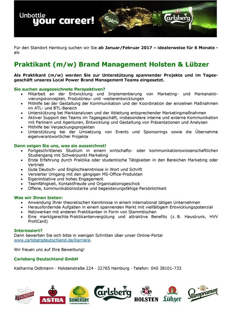 Praktikant (m/w) Brand Management Holsten & Lübzer