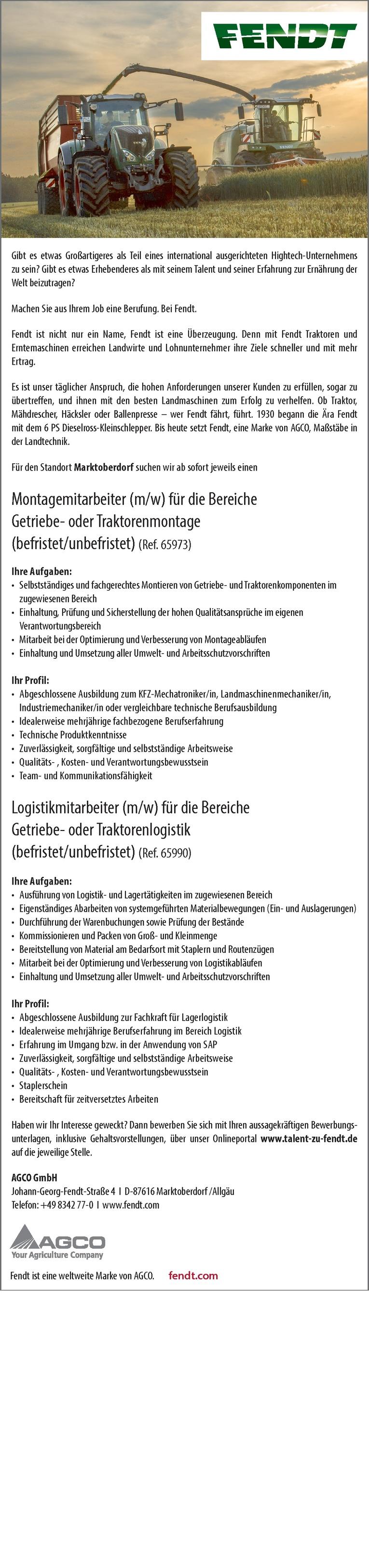 Montagemitarbeiter (m/w) für die Bereiche Getriebe- oder Traktorenmontage (befristet/unbefristet) (Ref. 65973)