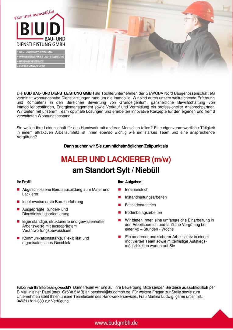 Maler  / Lackierer am Sandort Niebüll / Sylt (w/m)