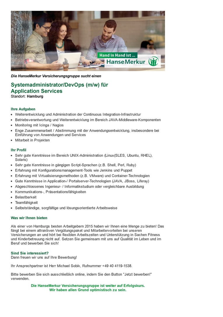 Systemadministrator/DevOps (m/w) für Application Services