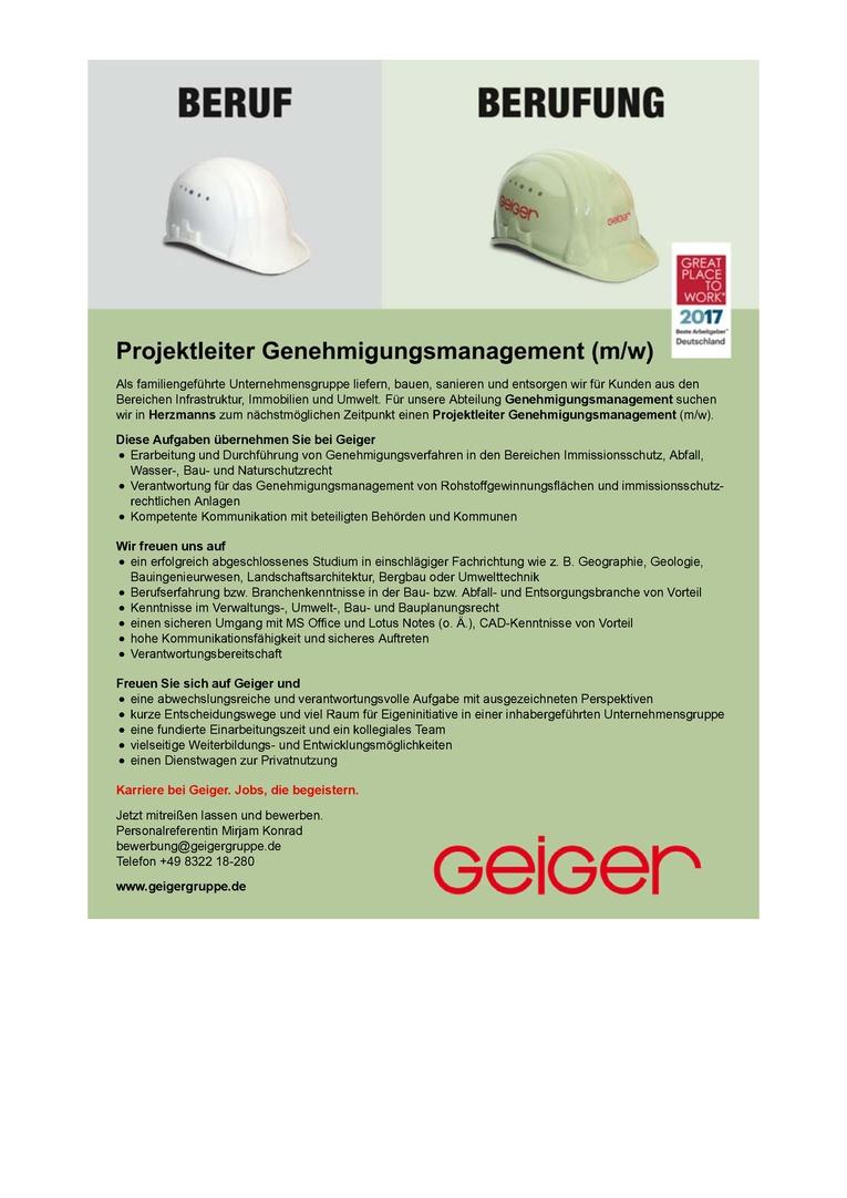 Projektleiter Genehmigungsmanagement (m/w)