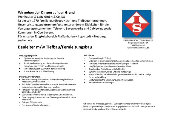 Bauleiter m/w Tiefbau/Fernleitungsbau
