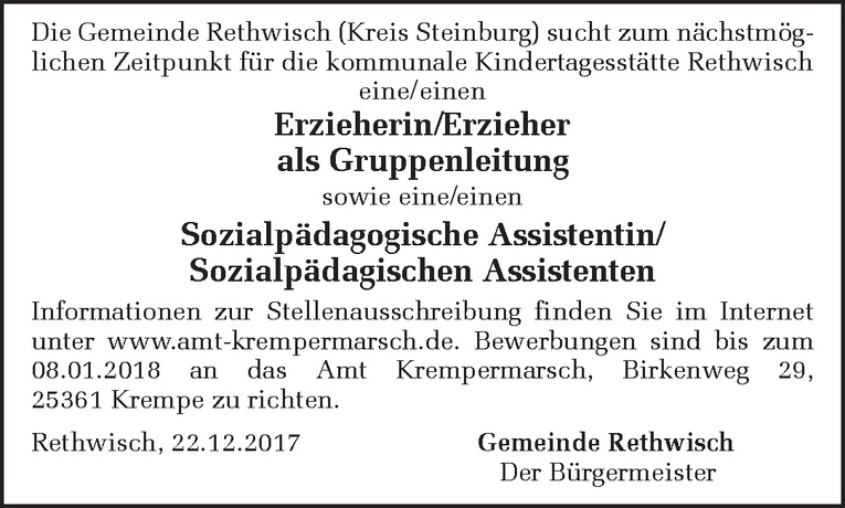 Sozialpädagogische Assistentin/ Sozialpädagischen Assistenten