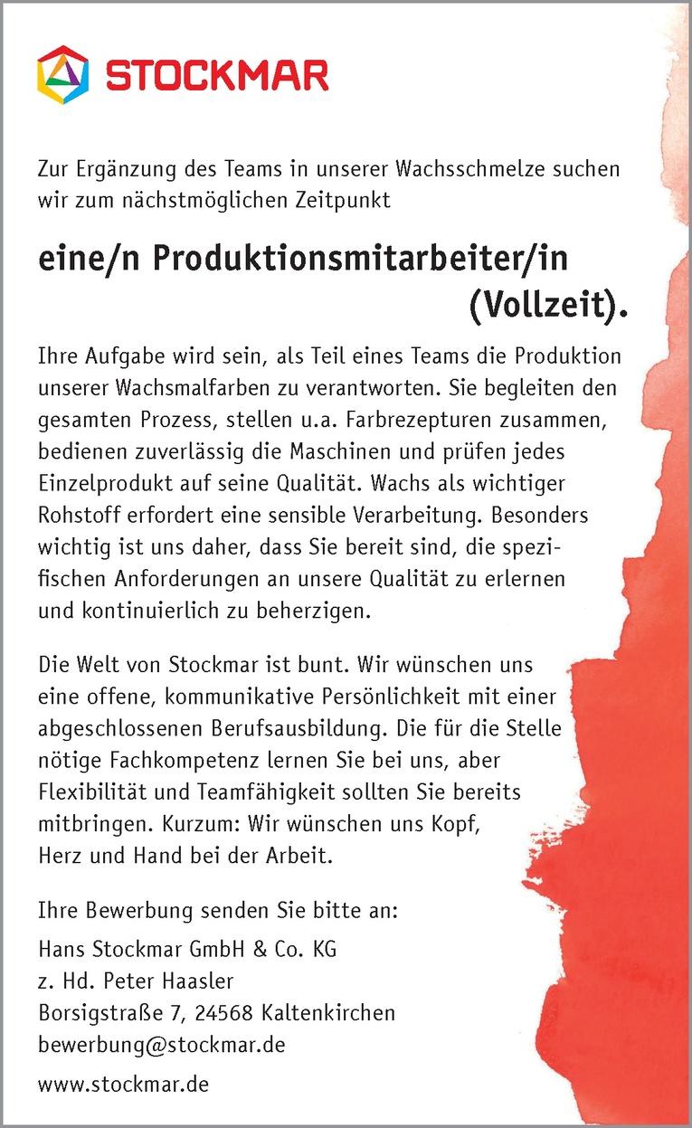 Produktionsmitarbeiter/in (Vollzeit) in Kaltenkirchen