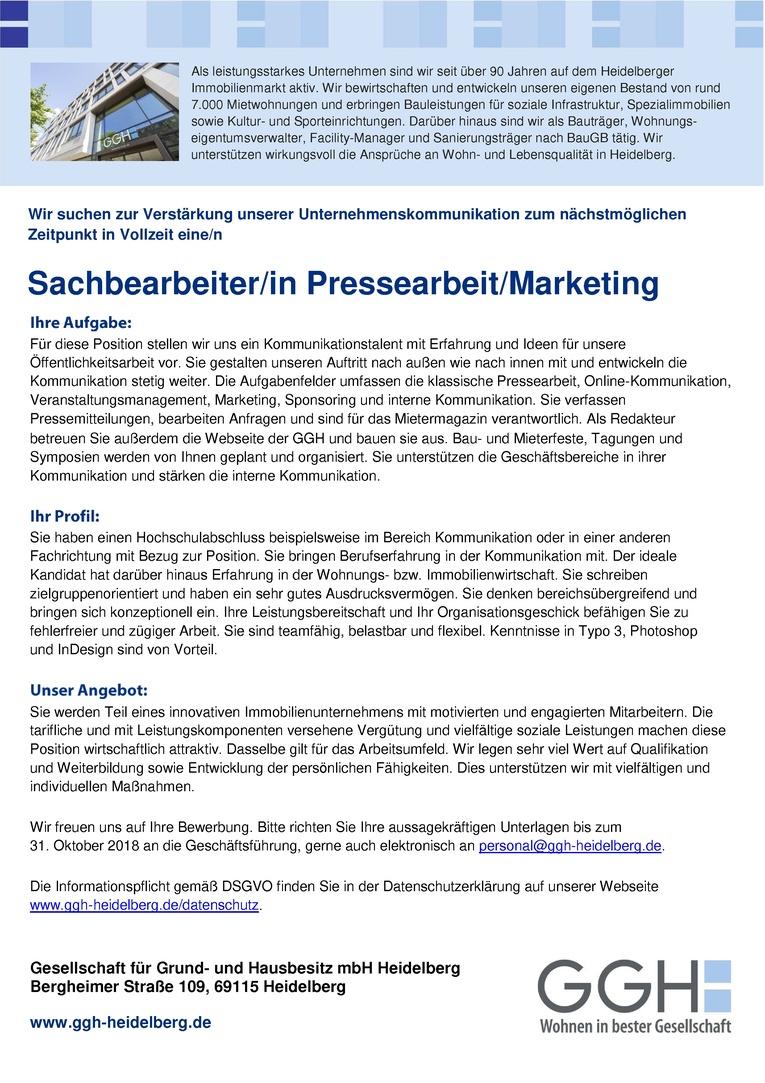 Sachbearbeiter/in Pressearbeit/Marketing