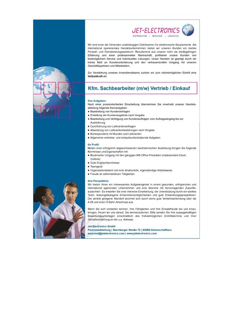 Kfm. Sachbearbeiter (m/w) Vertrieb / Einkauf