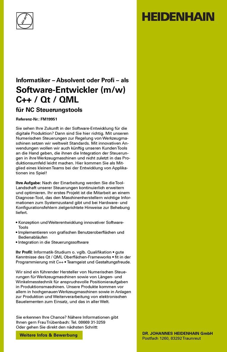 Software-Entwickler (m/w) C++ / Qt / QML