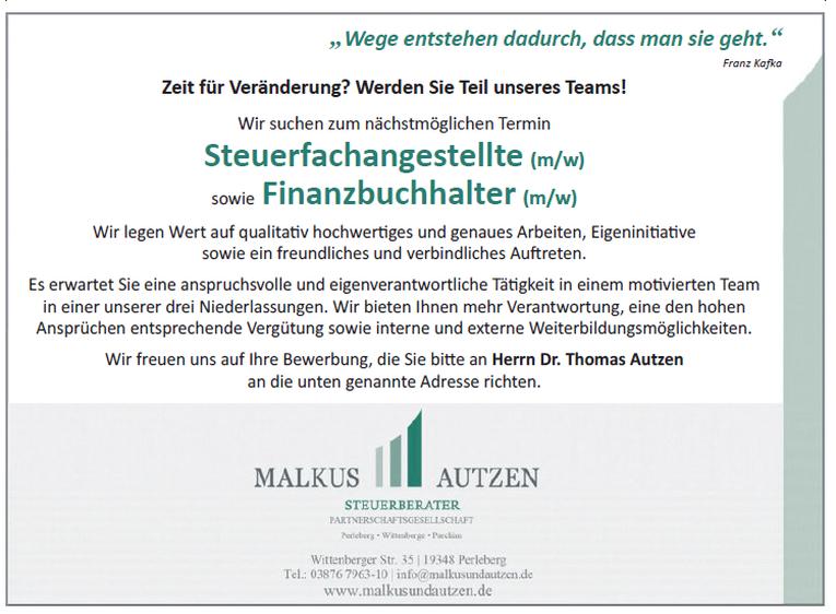 Steuerfachangestellte (m/w) sowie Finanzbuchhalter (m/w)