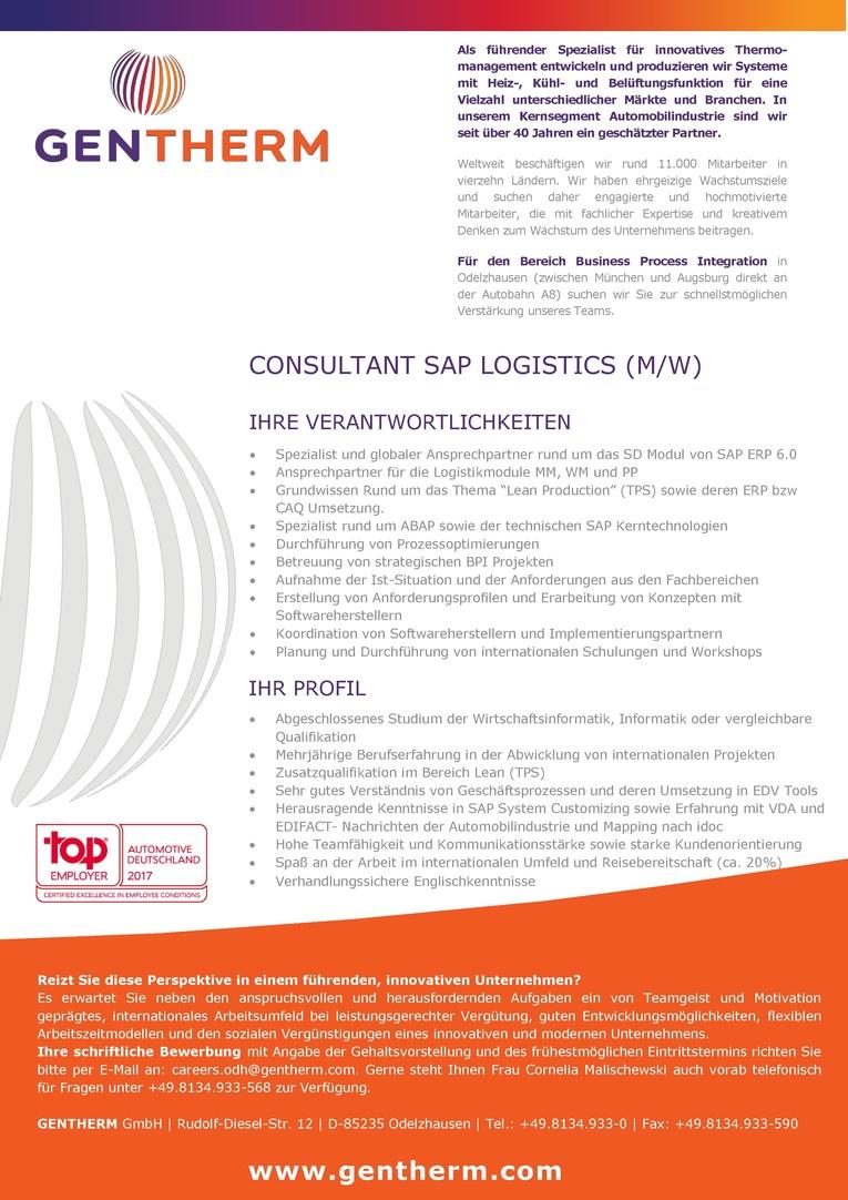 Consultant SAP Logistics (m/w)