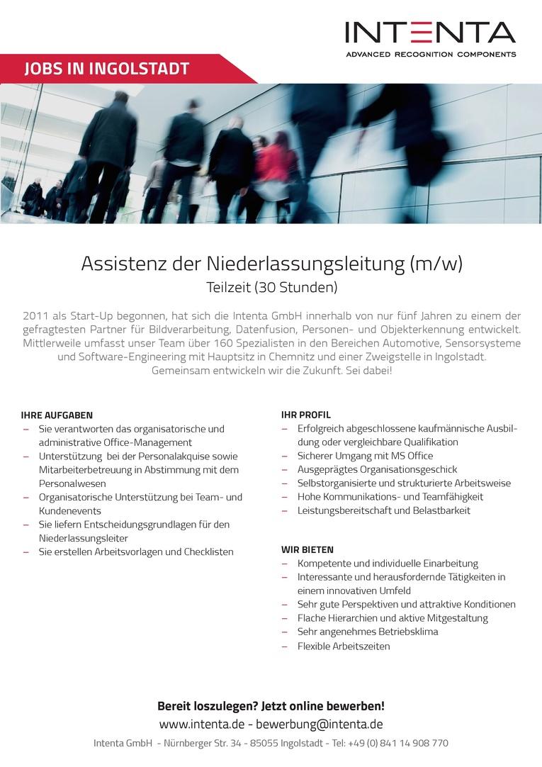 Assistenz der Niederlassungsleitung (m/w) in Teilzeit (30 Stunden)