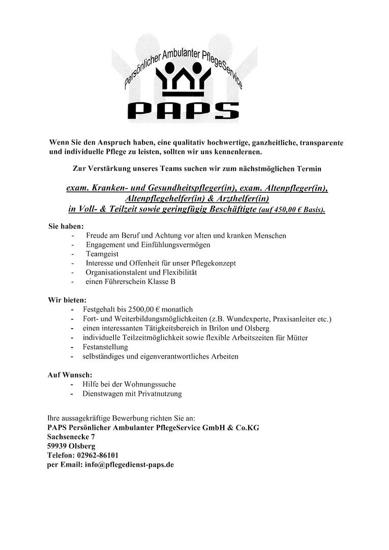 exam. Altenpfleger(in), Altenpflegehelfer(in) in Voll- & Teilzeit