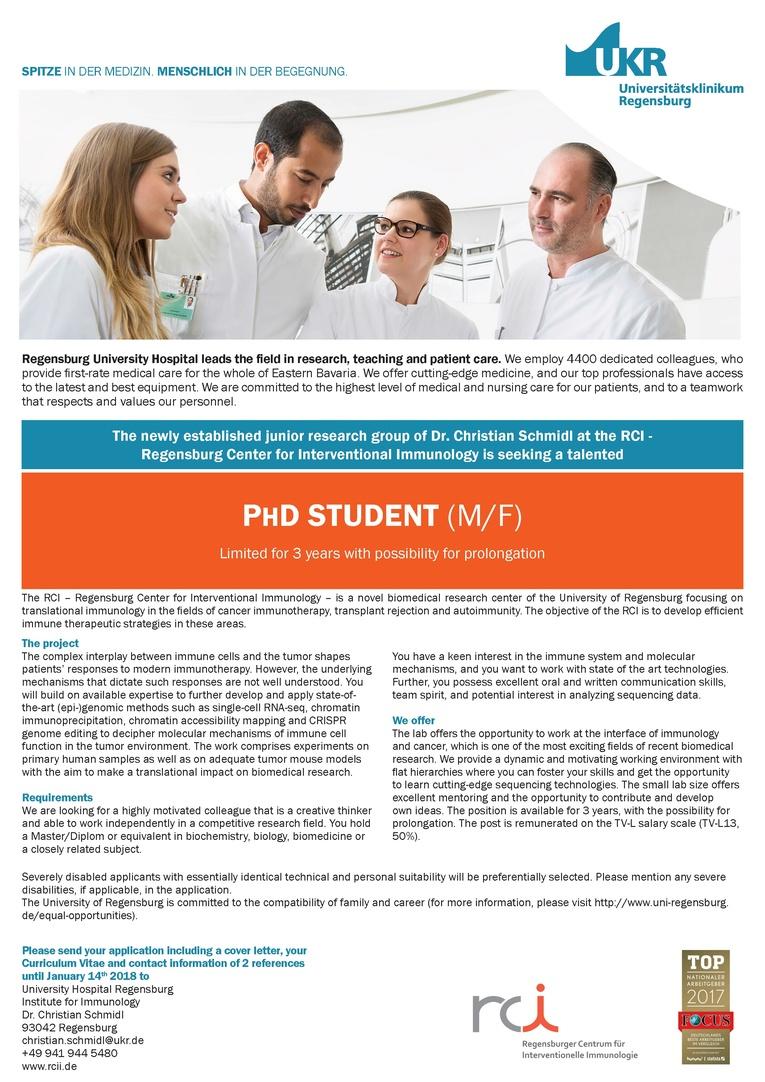 PHD STUDENT (M/F)