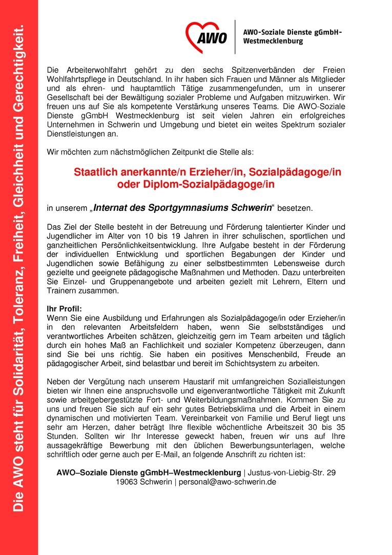 pädagogische/r Mitarbeiter/in im Internat des Sportgymnasiums