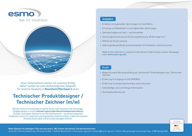 Technischer Produktdesigner / Technischer Zeichner (m/w)