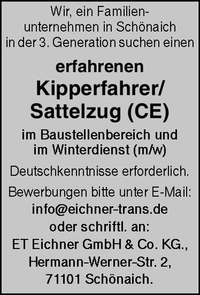 Kipperfahrer/Sattelzug (CE) m/w