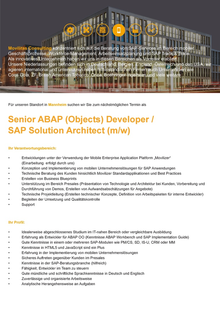 Senior ABAP (Objects) Entwickler (m/w)