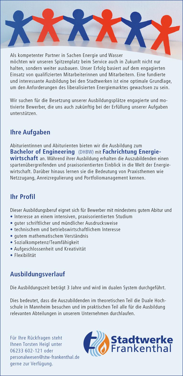 AZUBI Bachelor of Engineering (DHBW) - Fachrichtung Energiewirtschaft - (m/w) - 2018 -