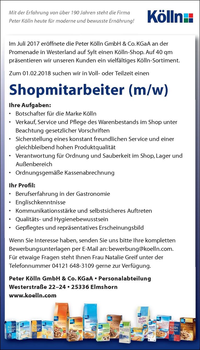 Shopmitarbeiter (m/w)