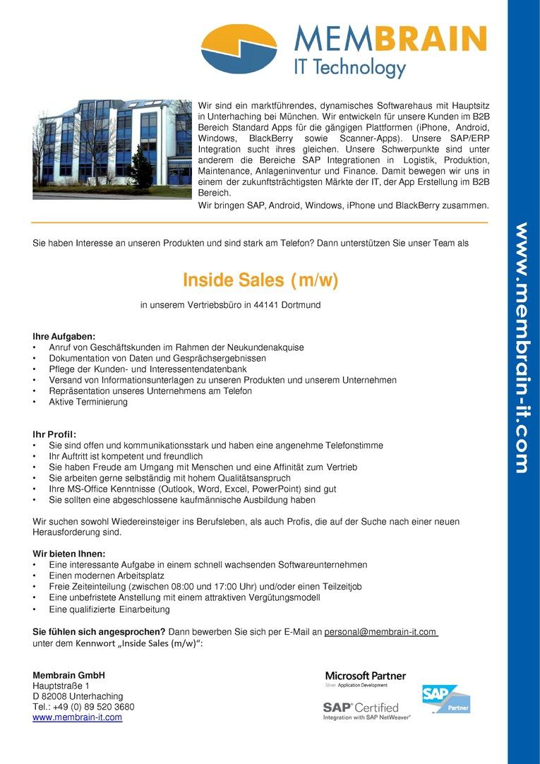 Inside Sales (m/w) - (Vertriebsinnendienst)