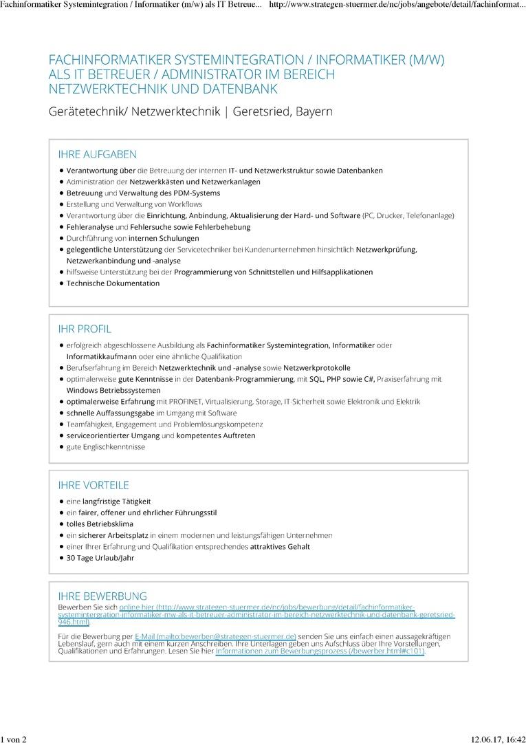 Fachinformatiker Systemintegration / Informatiker (m/w) als Mitarbeiter IT im Bereich Netzwerktechnik