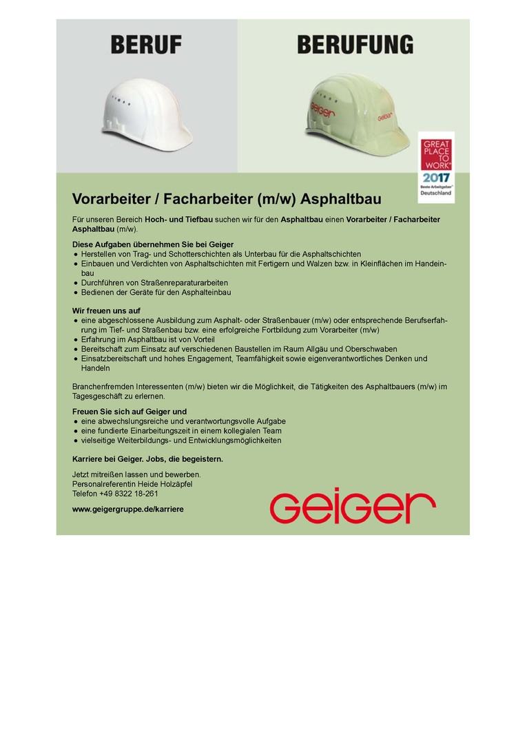 Vorarbeiter / Facharbeiter (m/w) Asphaltbau