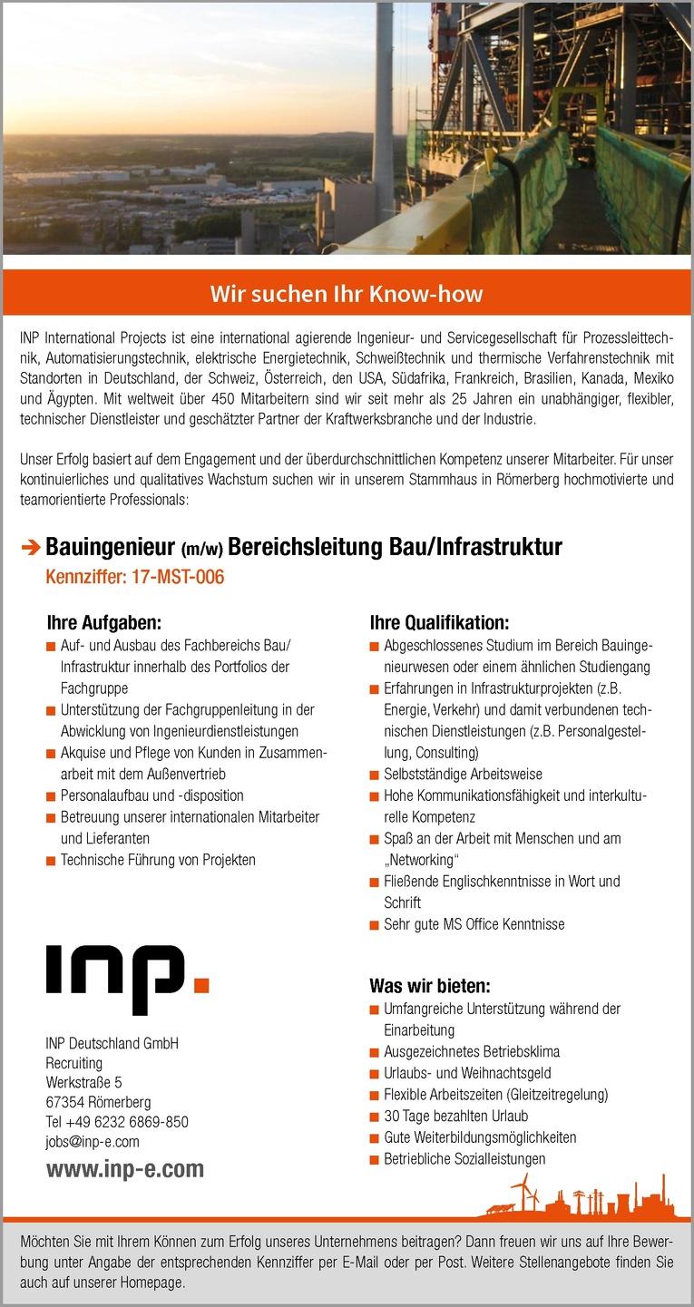 Bauingenieur (m/w) Bereichsleitung Bau/ Infrastruktur