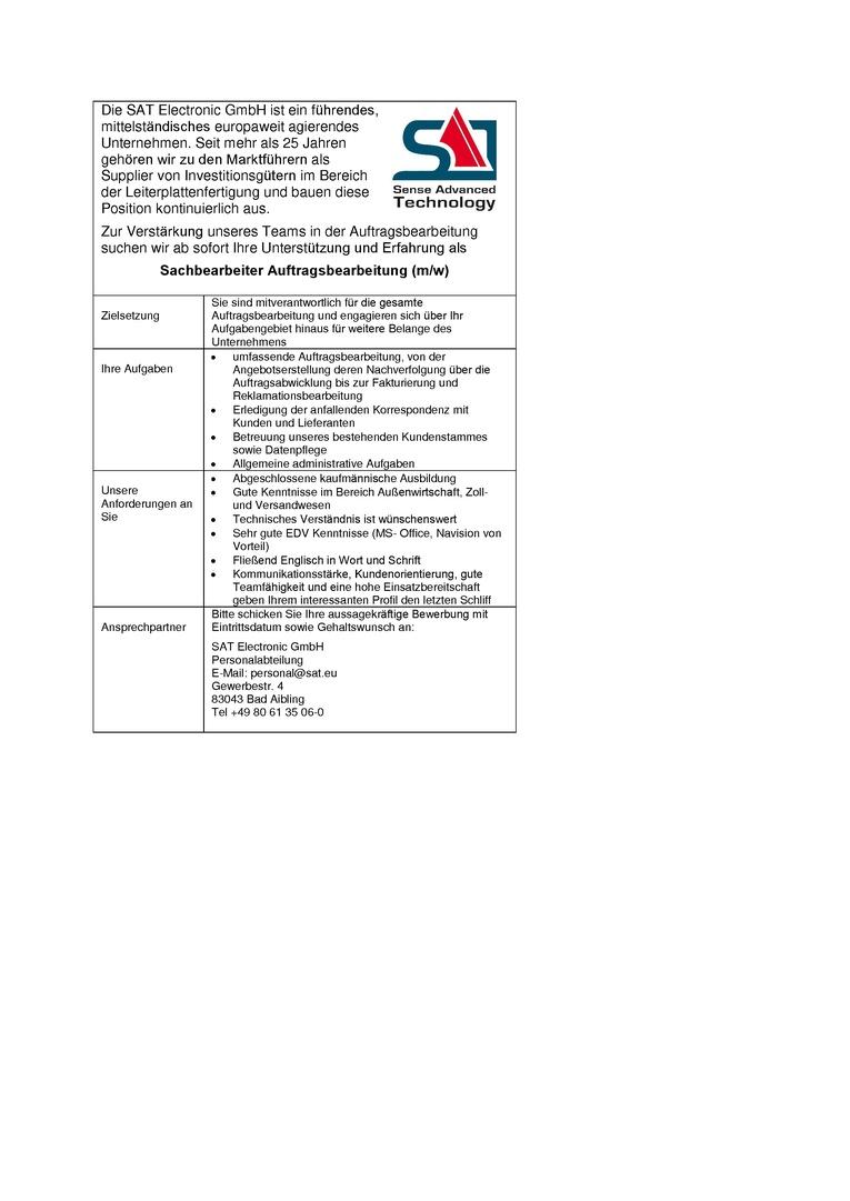 Sachbearbeiter Auftragsbearbeitung (m/w)