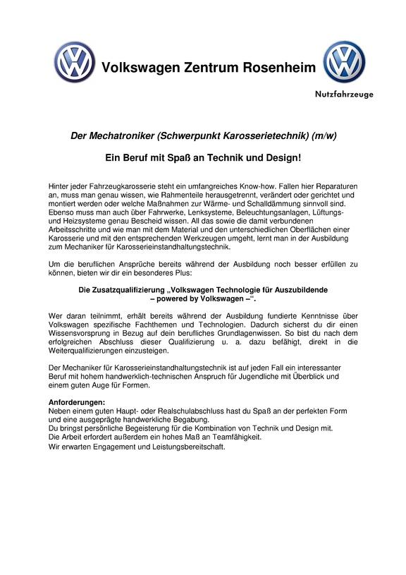 kfz mechatroniker schwerpunkt karosserietechnik mw ausbildungsstelle fr 2019 im volkswagen - Vw Bewerbung