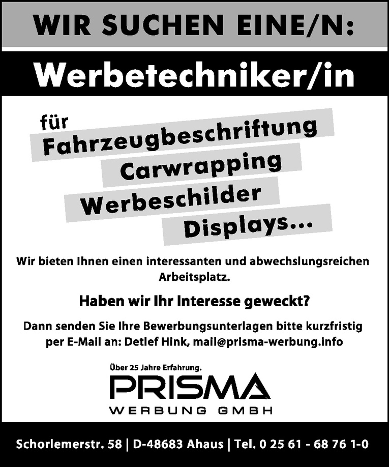 Werbetechniker/in