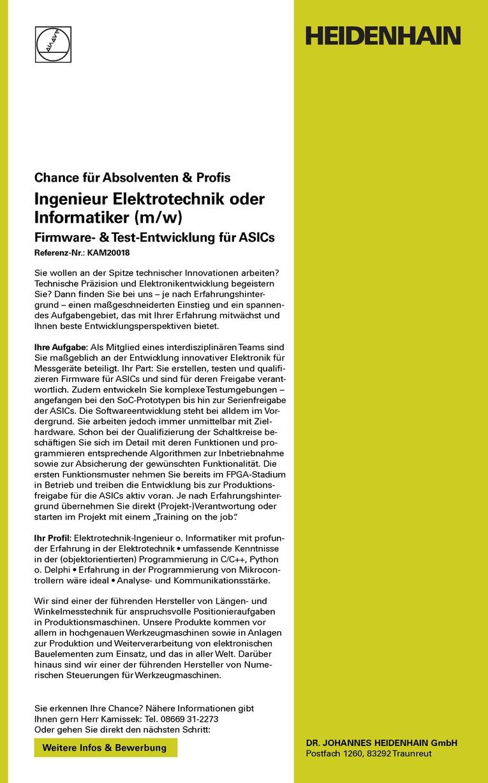 Ingenieur Elektrotechnik oder Informatiker (m/w) Firmware- & Test-Entwicklung für ASICs