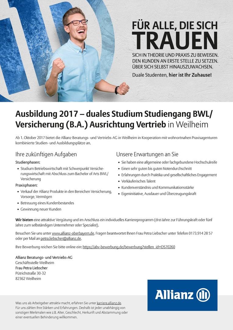 Bachelor of Arts (B.A.) Studiengang Versicherung, Ausrichtung Vertrieb