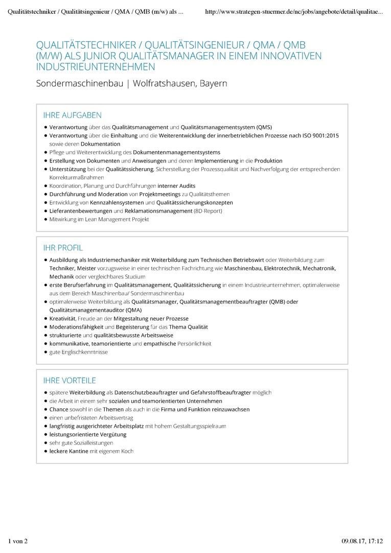 Qualitätstechniker / Qualitätsingenieur / QMA / QMB (m/w) als Junior Qualitätsmanager in einem innovativen Industrieunternehmen