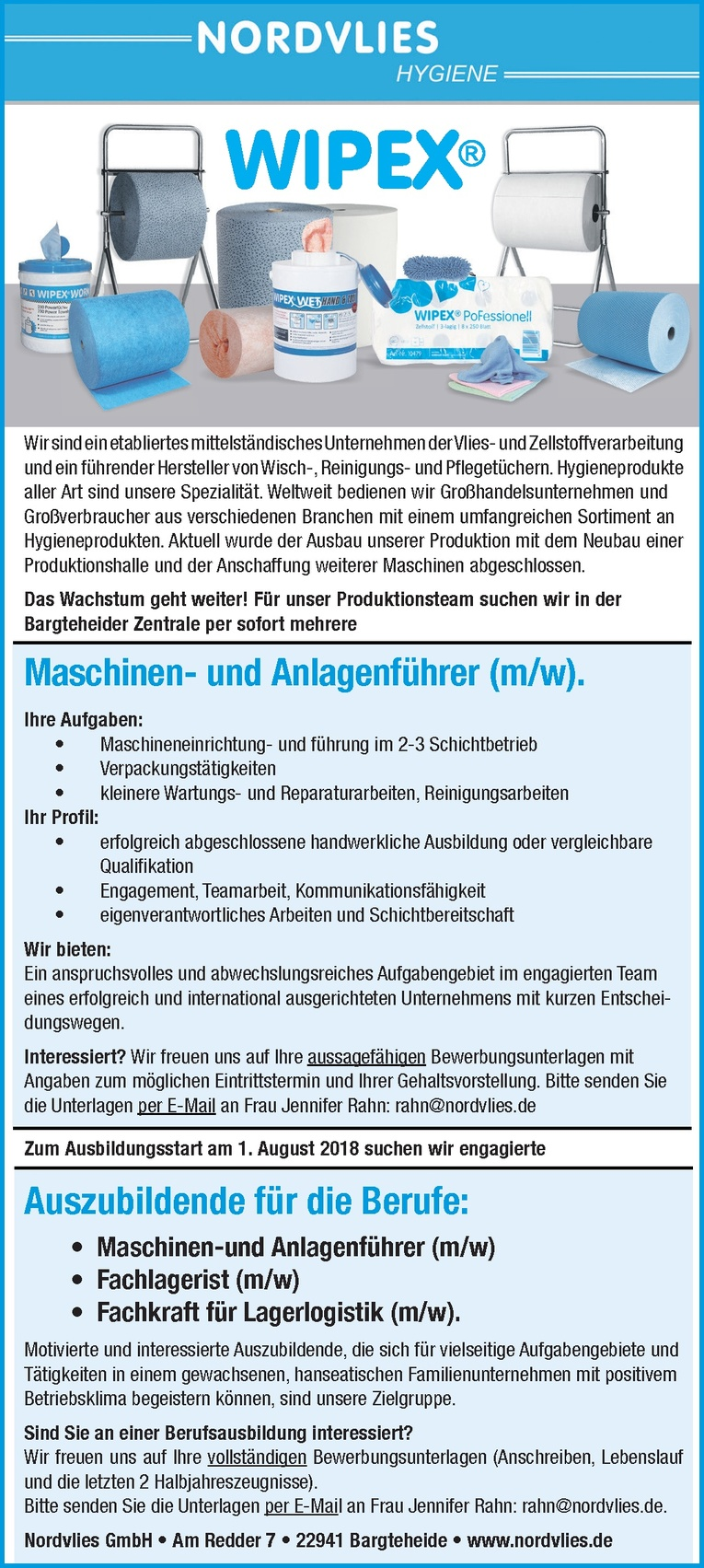 Auszubildende Fachkraft für Lagerlogistik (m/w)