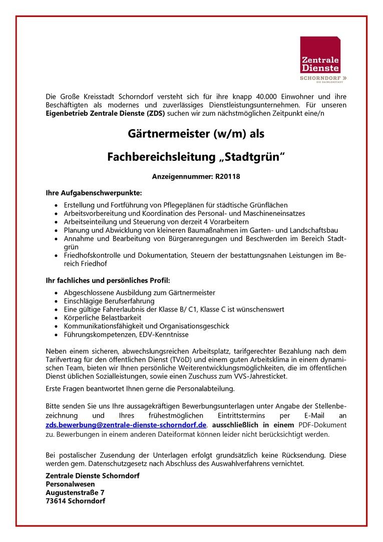"Gärtnermeister (w/m) als Fachbereichsleitung ""Stadtgrün"""