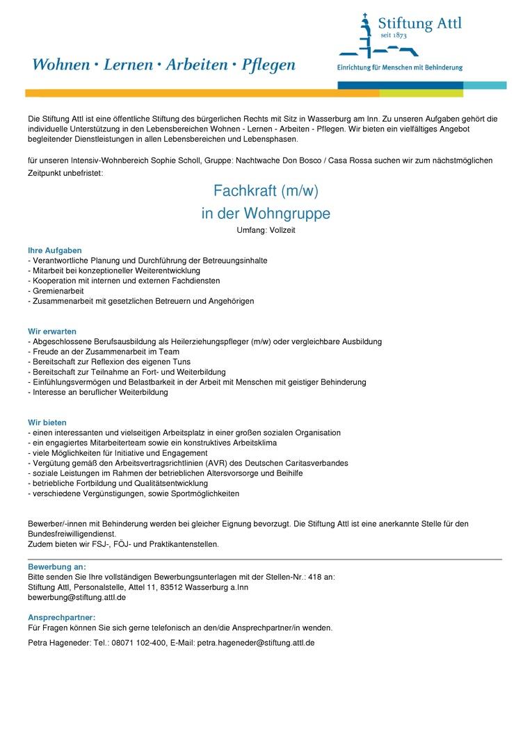 Fachkraft für unseren Intensiv-Wohnbereich (m/w) in Vollzeit als Nachtwache, unbefristet  - Stellen-Nr. 418