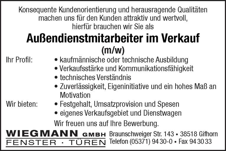 Außendienstmitarbeiter im Verkauf (m/w)