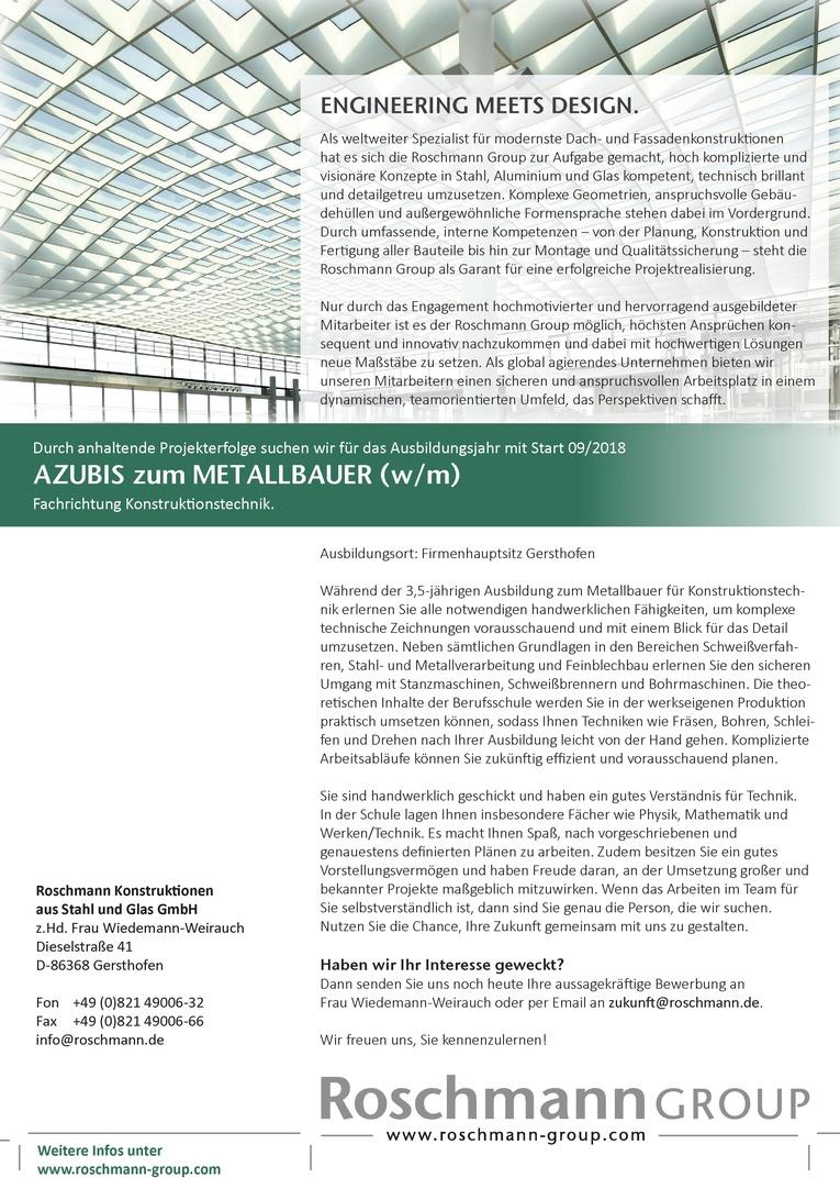 AZUBIS zum METALLBAUER (w/m) Fachrichtung Konstruktionstechnik